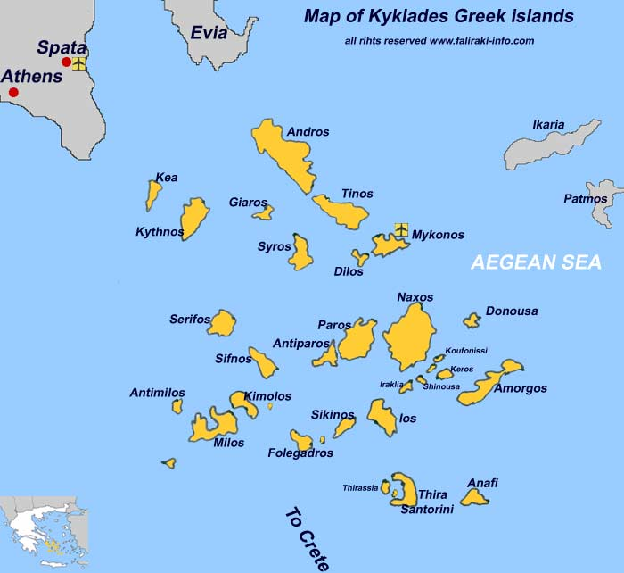 Map Of Cyclades Islands In English